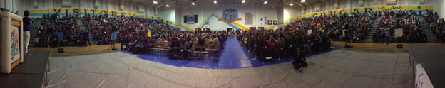 Panoramic photo of SUHSD staff at SYH